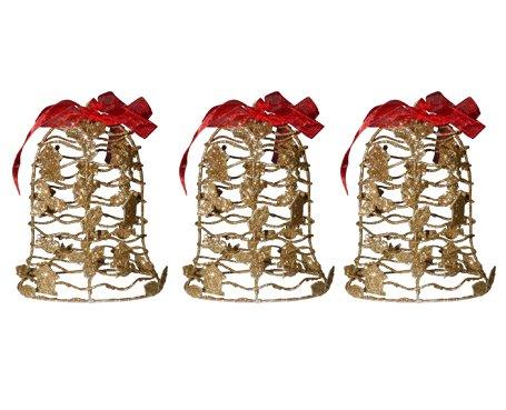 Kit Mini Sino De Natal Dourada Decoracao Natalino 3 Unid