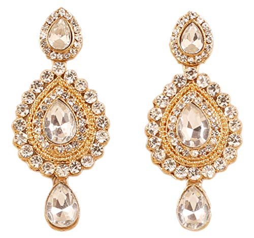 NEW! Touchstone Indian Bollywood Desire Contemporary Diamond Look White Rhinestone Designer Jewelry Chandelier Earrings In Antique Gold Tone For Women