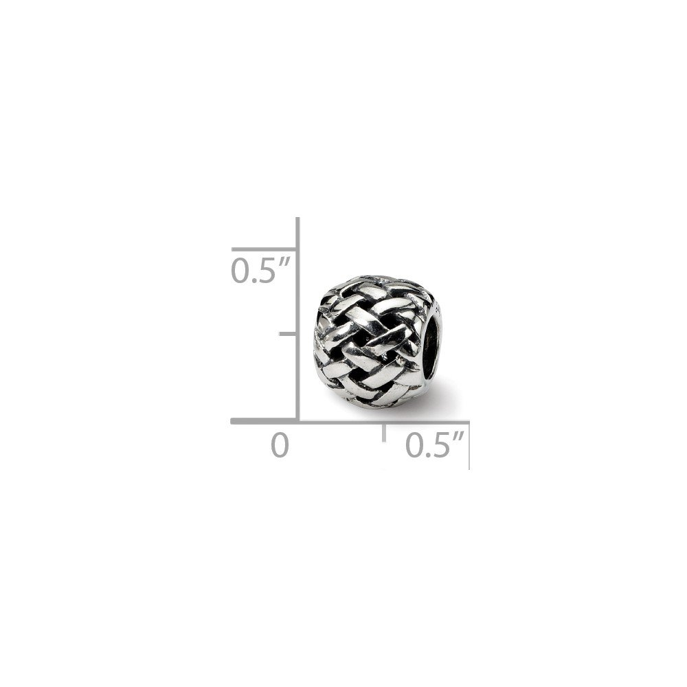 Sterling Silver Jewelry Themed Beads Solid 7.27 mm 9.09 mm Reflections Basketweave Bali Bead