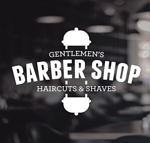 Barbers Pole Haircut Shaves Gentlemen's Shop Vinyl Sign Hairdressers Hair Salon Window Lettering Sticker