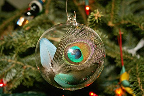(Hand Blown Glass Christmas Ornament - Feather Ball)