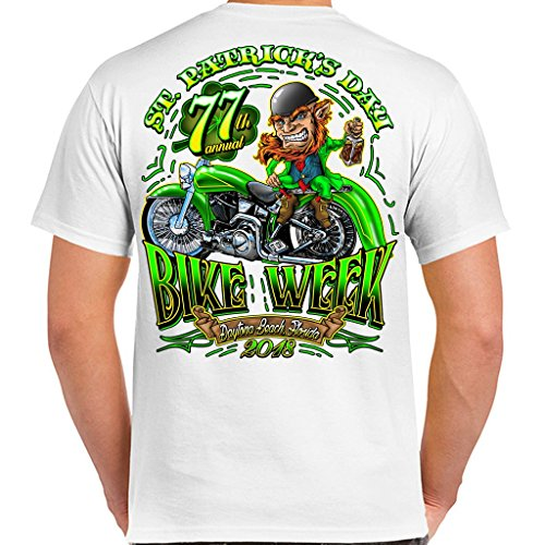 Bike White T-shirt (Biker Life USA 2018 Bike Week Daytona Beach St. Patty's T-Shirt)