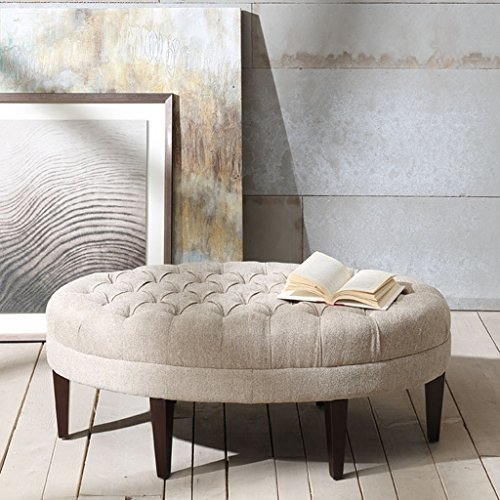Traditional Upholstered Ottoman - Madison Park FPF18-0264 Martin Surfboard Tufted Ottoman