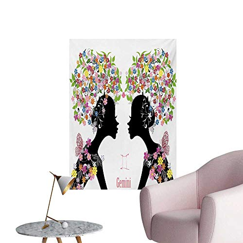 - Zodiac Gemini Wall Sticker Decals Two Young Ladies with Colorful Spring Blossoms and Butterflies Fashion GirlsMulticolor W32 xL36 Poster Print