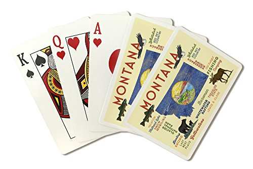 Montana - Typography and Icons (Playing Card Deck - 52 Card Poker Size with Jokers)