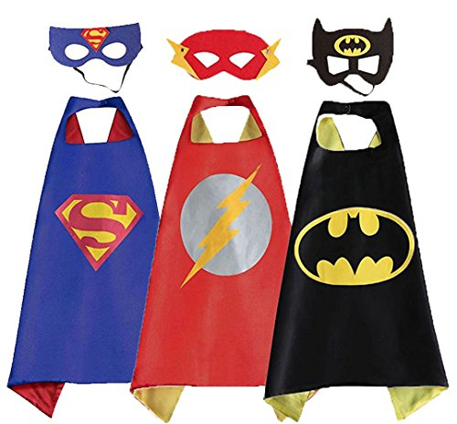 3 Packs Dress Up Superheroes Costumes for Kids with Mask ( One Size (Batman Dressing Up Outfit)