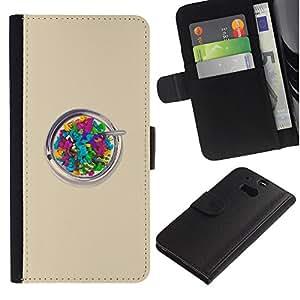 Billetera de Cuero Caso del tirón Titular de la tarjeta Carcasa Funda del zurriago para HTC One M8 / Business Style Beige Colorful Artistic