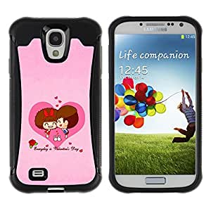 Pulsar Defender Series Tpu silicona Carcasa Funda Case para SAMSUNG Galaxy S4 IV / i9500 / i9515 / i9505G / SGH-i337 , Love Cute Couple Heart