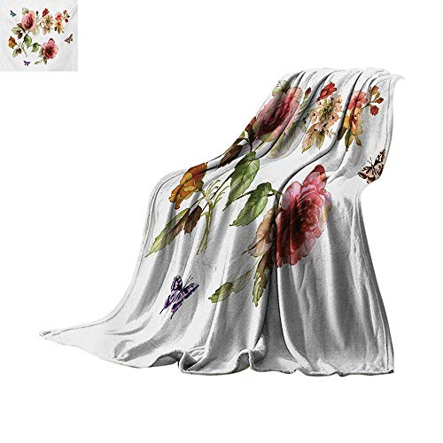 (Flower Throw Blanket Shabby Chic Roses Buds Leaves Tulips Floral Details Butterfly Natural Eco Print Custom Design Cozy Flannel Blanket 90