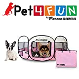 PET4FUN PN935 35'' Portable Pet Puppy Dog Cat Animal Playpen Yard Crates Kennel w/Premium 600D Oxford Cloth, Tool-Free Setup, Carry Bag, Removable Security Mesh Cover/Shade, 2 Storage Pockets(Pink)