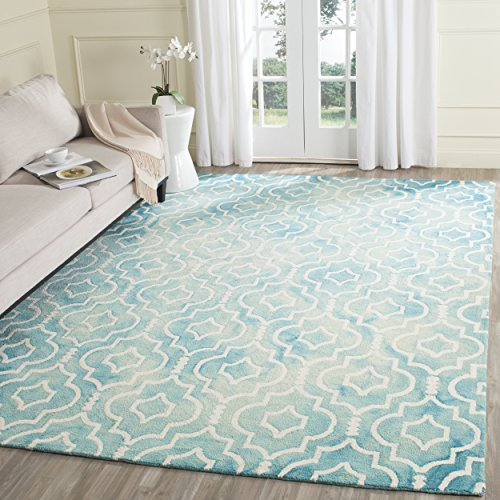 (Safavieh Dip Dye Collection DDY538D Handmade Vibrant Geometric Moroccan Watercolor Turquoise and Ivory Wool Area Rug (8' x 10'))