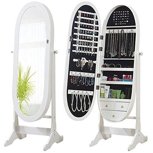 Ybriefbag-Home Jewelry Cabinet Wall-Mounted Mirror Cabinet Oval Elliptical Mirror Full-Length Floor Mirror Jewelry Storage (Color : White, Size : 1444446.5cm)