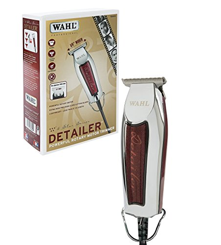Wahl Professional Series Detailer #8081 - With Adjustable T-Blade, 3 Trimming Guides (1/16' - 3/16'), Red Blade Guard, Oil, Cleaning Brush and Operating Instructions, 5-Inch