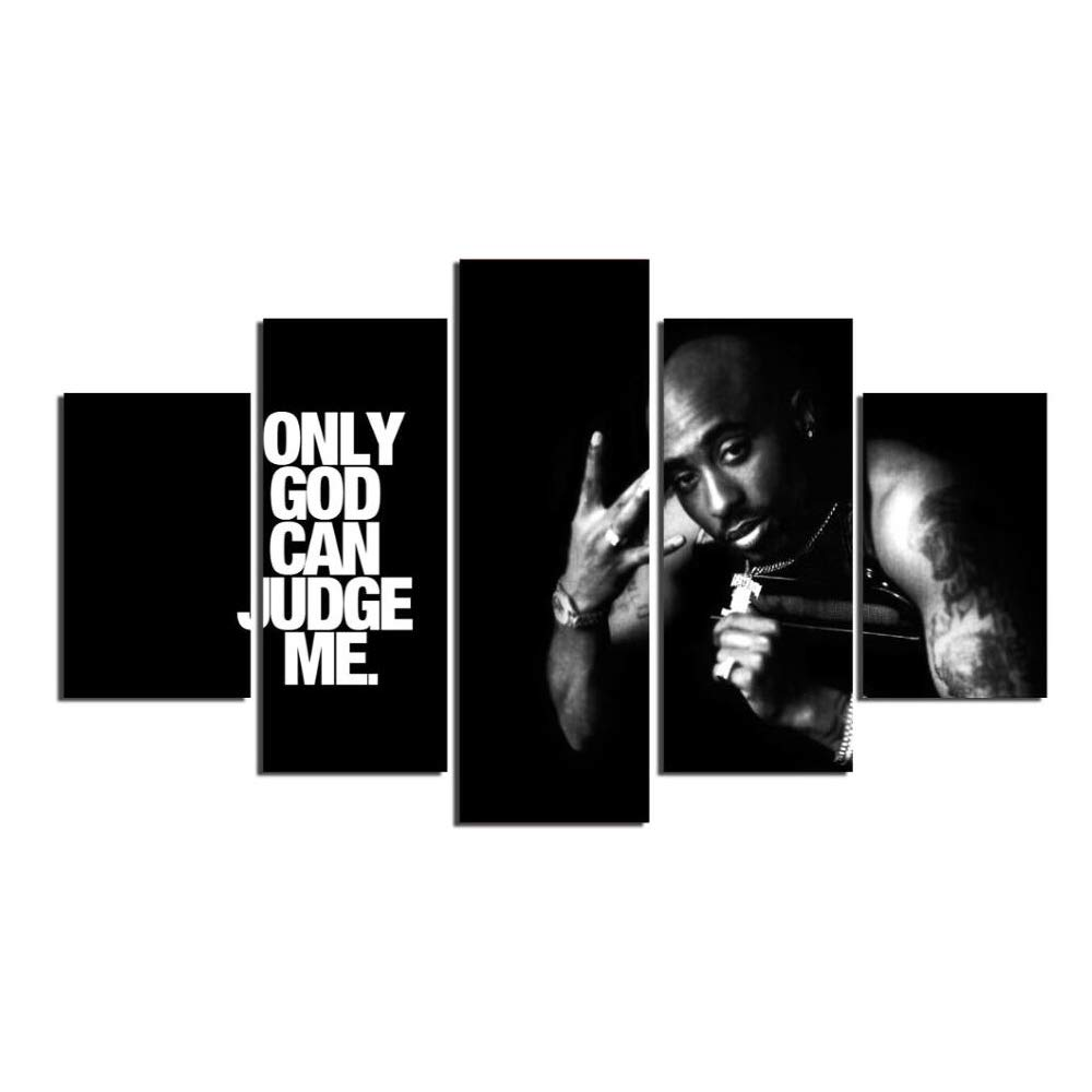 Canvas Wall Art 5 Pieces Makaveli Tupac Amaru Shakur Modern Picture HD Painting On Canvas for Home Decor Living Room Framed