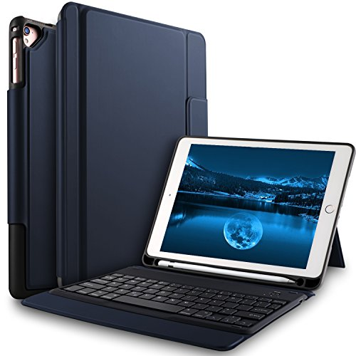 Bosewek Keyboard Case for New iPad 9.7 2018 - Lightweight One-Piece Wireless Keyboard Case with Pencil Holder for Apple New iPad 9.7 2018 2017 iPad Pro 9.7 iPad Air 2 iPad Air Tablet (Blue) (Ipad Air 2 Vs Ipad 5th Generation)