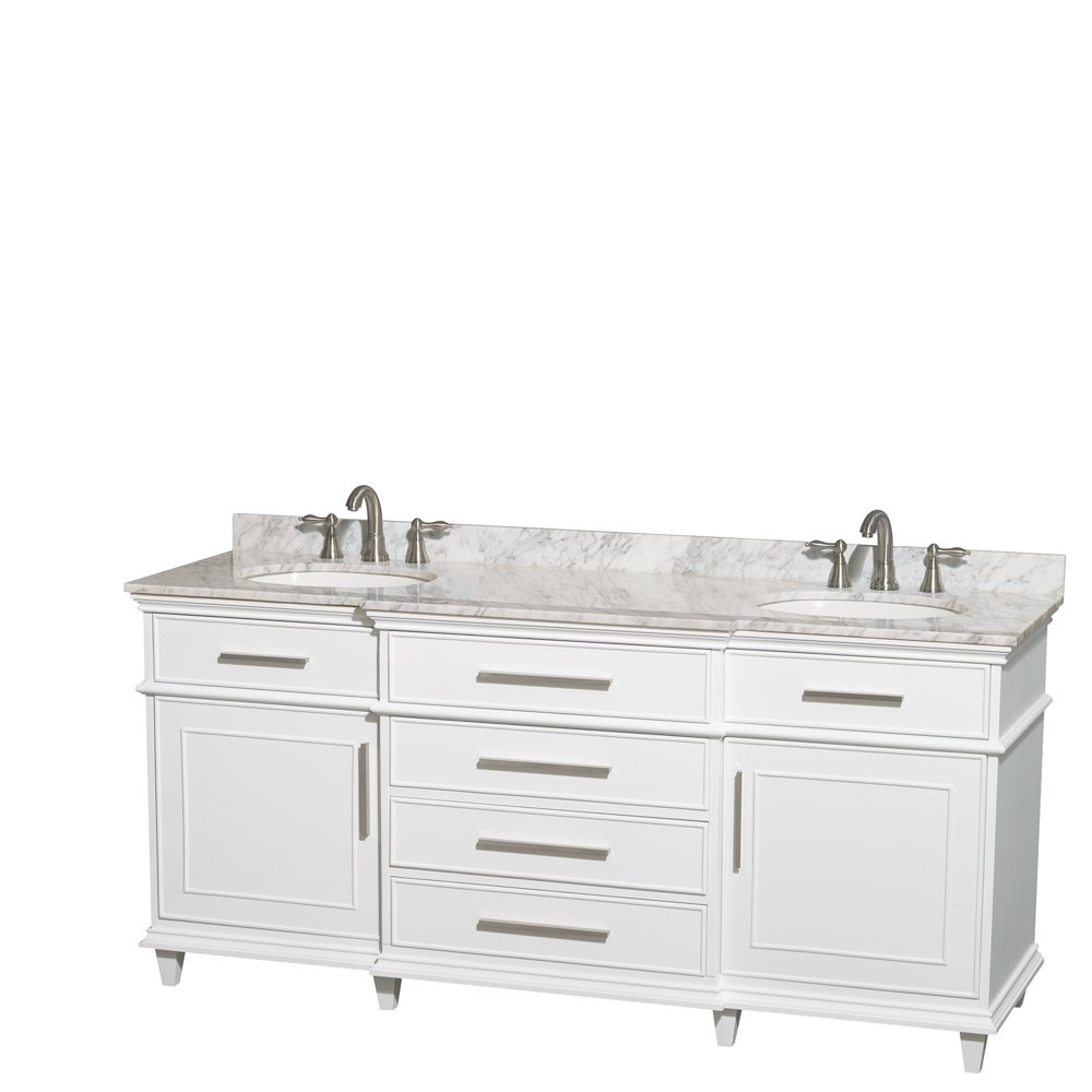 Wyndham Collection Berkeley 72 inch Double Bathroom Vanity in White with White Carrara Marble Top with White Undermount Oval Sinks and No Mirror