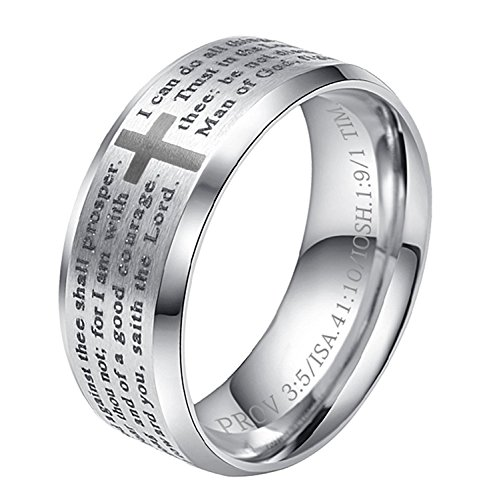 ALEXTINA Men's Stainless Steel Bible Verse Christian Lord's Prayer Cross Ring Wedding Band Silver Size 9