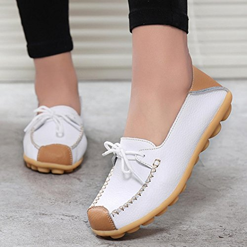 Transer Soft Ladies Leisure Flats Shoes, Women Slip On Casual Non-Slip Work Loafers,Comfortable Leather Lazy Shoes White