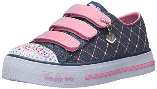 Skechers Kids Girls Shuffles Dazzle Dash Sneaker Denim Pink 2 M Us Little Kid