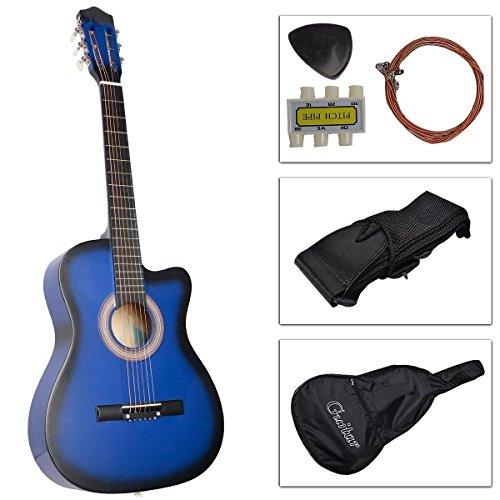 [해외]38 \\ / 38 Inch Student Beginner Blue Acoustic Cutaway Guitar with Carrying Case & Accessories & DirectlyCheap(TM) Translucent Blue Medium Guitar Pick