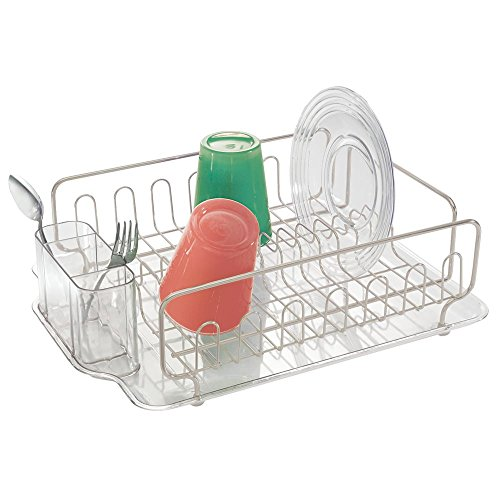 - mDesign Large Modern Metal Wire Kitchen Dish Drainer Drying Rack with Plastic Cutlery Caddy and Drainboard for Sink or Countertop - Satin/Clear