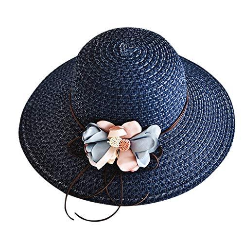 (Fashionhe Ladies Sunhat Women Wide Brimmed Floppy Foldable Summer Sun Beach Hat Outdoor Hats Visors(Navy))
