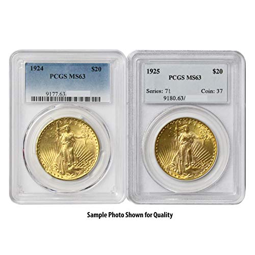 1907-1933 (Random Year) Gold Saint Gaudens Coin $20 MS63 PCGS