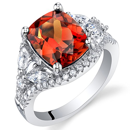 Padparadscha Sapphire - 3.75 Carat Created Padparadscha Sapphire Sterling Silver Legacy Ring Size 7