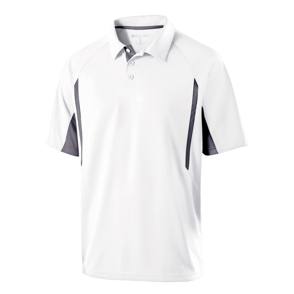 Holloway Dry Excel Avenger Polo (XX-Large, White/Graphite) by Holloway