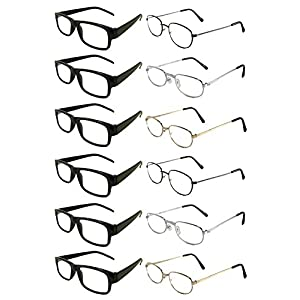 Mr. Reading Glasses [+3.00] 6 Black Plastic and 6 Metal Frame Assorted Style and Color Unisex 12 Pack of Reading Glasses - Wholesale Lot of 12 Pairs - (+3.00)