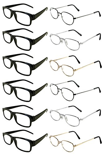 Mr. Reading Glasses [+2.00] 6 Black Plastic and 6 Metal Frame Assorted Style and Color Unisex 12 Pack of Reading Glasses - Wholesale Lot of 12 Pairs - (+2.00) ()