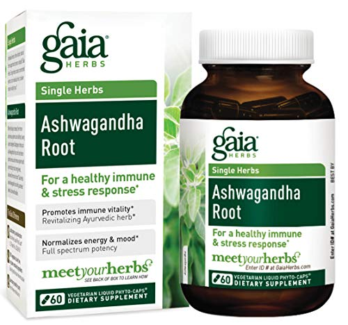 Gaia Herbs Ashwagandha Root, Vegan Liquid Capsules, 60 Count - For Stress Relief, Immune Support, Balanced Energy Levels and Mood Support by Gaia Herbs