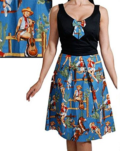 Steady-Clothing-Norma-Jean-Cowgirl-Horse-Guitar-Dress-L
