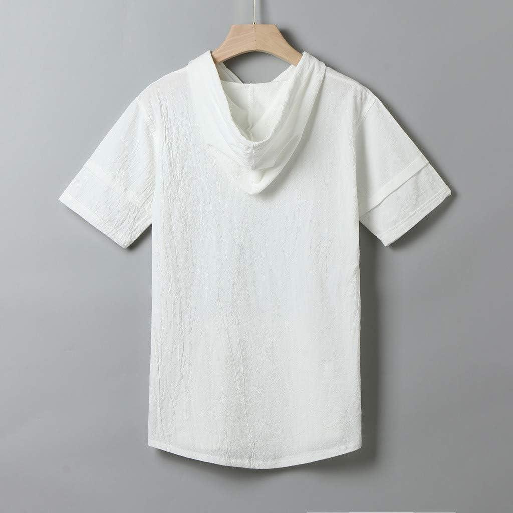 TOPUNDER Mens Linen Shirts Pullover Hoodie Casual Lightweight Short Sleeve T Shirts Top Blouse