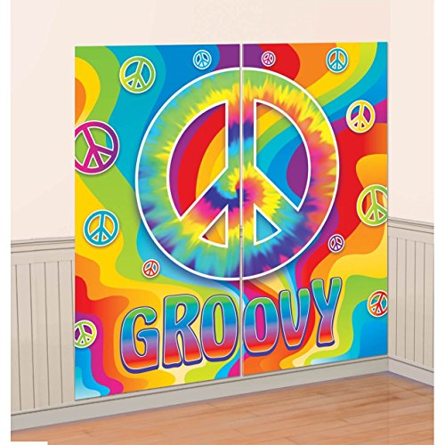 (amscan Groovy 60's Party Scene Setters Wall Decoration Kit, Multicolor, 65