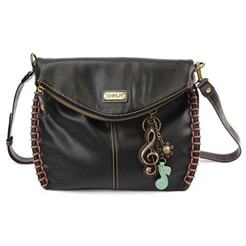 Flap Pocket Hobo Bag - Chala Charming Crossbody Bag with Zipper Flap Top and Metal Chain - Black - Clef