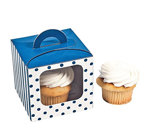 Blue Polka Cupcake Boxes Handle