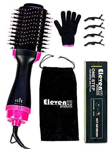 Hair Dryer Brush, one step Hair Dryer and Volumizer- 2 in 1 Volumizing Straightener Styler negative Ion Hot Air Blow Dry Brush Upgraded Electric Brush For curling Straightening All Hair Type