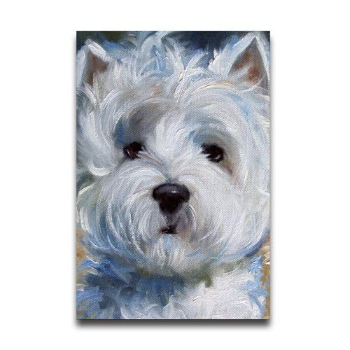 (Du Art Gifts White Westie West Highland Terrier Dog Puppy Oil Painting Custom Poster Personal Photos Print on Photographic Paper Ready to Hang on Your Wall as a Modern Art 16