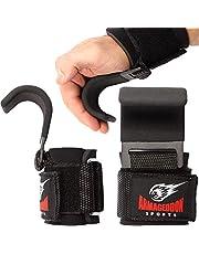 Premium Polshaken Hijsbanden met gewatteerde polswraps voor maximale grip ondersteuning - Handschoenen en pads alternatief in Fitness Gym Gewichtheffen Power Training zoals Pull Up Deadlifting & Shrugs
