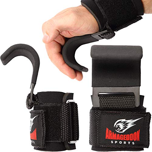 Premium Wrist Hooks Lifting Straps with Padded Wrist Wraps for Maximum Grip Support - Gloves and Pads Alternative in Fitness Gym Weight Lifting Power Training Like Pull Up Deadlifting & Shrugs