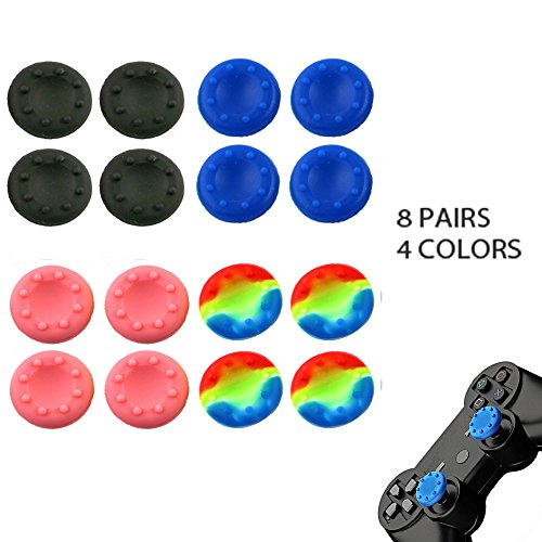 WELLSKEY 8 Pairs Thumb Grip Stick Cover For PS4 PS3 PS2 XBOX 360 ONE WII - Case Skin Joystick Controller - Pack of 16 pcs (4 Black + 4 Blue + 4 Pink + 4 Multicolor) Set # 3