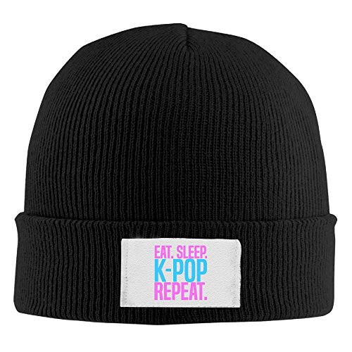 Jidfnjg Eat. Sleep. K-Pop Chunky Cable Knit Beanie, Winter Knitting Warm Hat Beanie Skull Cap For Women&Men (Kpop Costume For Male)