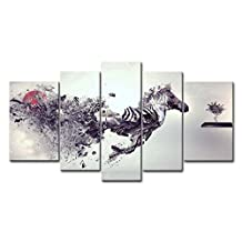 Black And White 5 Panel Wall Art Painting Creative Smash Zebra Pictures Prints On Canvas Animal The Picture Decor Oil For Home Modern Decoration Print