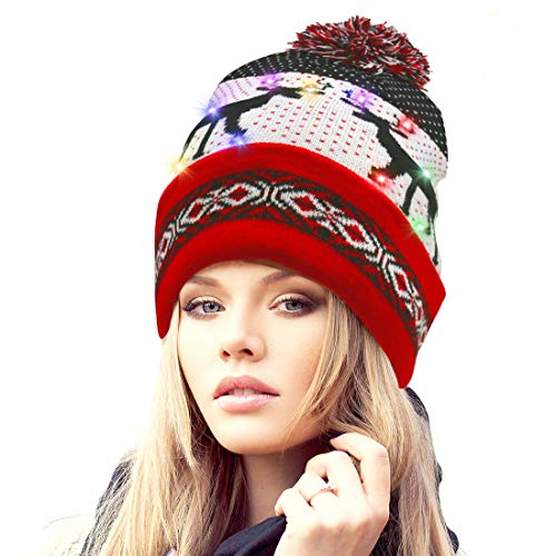 Rotus Novelties LED Light Up Santa Beanie Knit Cap with 10 Colorful Flashing LED, Thick Double Layer Christmas Beanie Hat with Reindeer Printing Party, Red Brim -