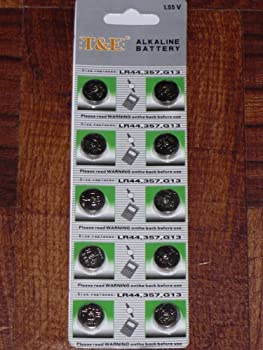 10-pack LR44 1.55v Alkaline Button Cell Battery (Replaces: LR44, CR44, SR44, 357, SR44W, AG13, G13, A76, A-76, PX76, 675, 1166a, LR44H, V13GA, GP76A, L1154, RW82B, EPX76, SR44SW, 303, SR44, S303, S357, SP303, SR44SW)