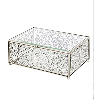 Funda Caja Joyero con espejo interior de desplazamiento Exclusive cristal - pinchos con bolas decorativas de corazones en la parte superior: Amazon.es: Hogar