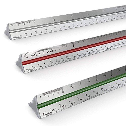 Regla De Escalas Triangular De Aluminio Para Arquitectos Arteza De 30 Centímetros – Codificación De Escalas Por Colores…