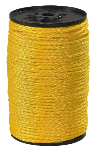 "Aviditi TWR114 Polypropylene Hollow Braid Rope, 1000' Length x 1/4"" Width, 1000 lbs Tensile Strength, Yellow"