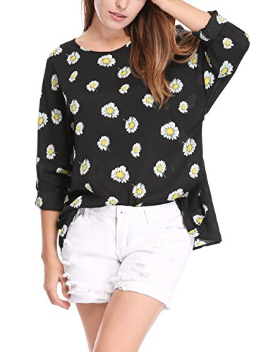 Allegra K Women's Round Neck Dolman Sleeves Daisy Print Loose Top S Black Daisy Print